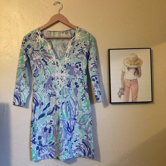 Lilly Pulitzer Marina Dress Lilac Nice Ink XXS